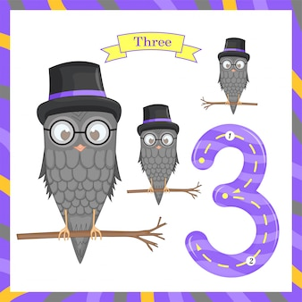 Cute children flashcard number one tracing with 3 owls for kids learning to count and to write. learning the numbers 0-10, flash cards, educational preschool activities, worksheets for kids