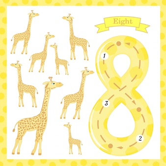 Cute children flashcard number one tracing with 8 giraffes for kids learning to count and to write.