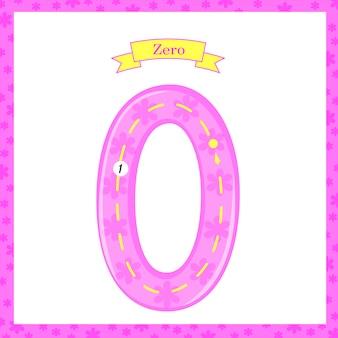 숫자 세기와 쓰기를 배우는 아이들을 위한 0으로 된 귀여운 아이들 플래시카드 번호 1 추적. 숫자 0-10 배우기, 플래시 카드, 유치원 교육 활동, 어린이용 워크시트