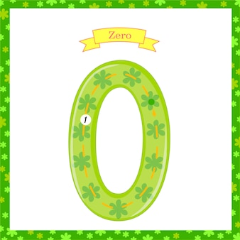 Cute children flashcard number one tracing with zero for kids learning to count and to write. learning the numbers 0-10, flash cards, educational preschool activities, worksheets for kids