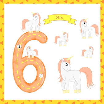 Cute children flashcard number six tracing