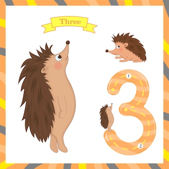 Cute children flashcard number three tracing with 3 hedgehogs for kids learning to count and to write.