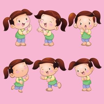 Cute children girl actions set