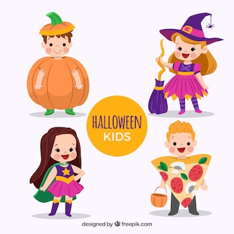 Cute children halloween disguised