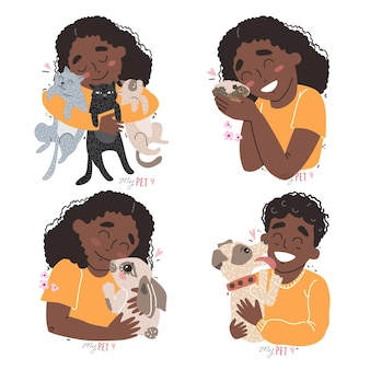 Cute children hold their pets in the arms