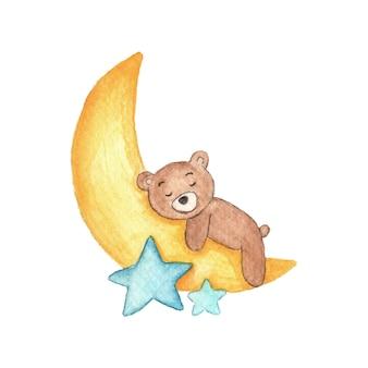 Симпатичные детские иллюстрации медведь спит