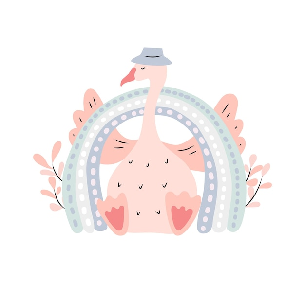 스칸디나비아 스타일의 무지개와 거위가 있는 귀여운 어린이 삽화. 격리 된 흰색 배경에 벡터 일러스트 레이 션.