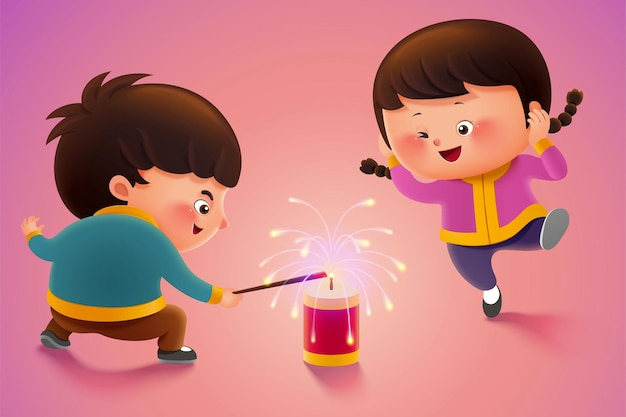休日や新年の間に爆竹に火をつけるかわいい子供たち