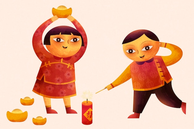 Cute children lighting firecrackers and holding gold ingot in doodle style