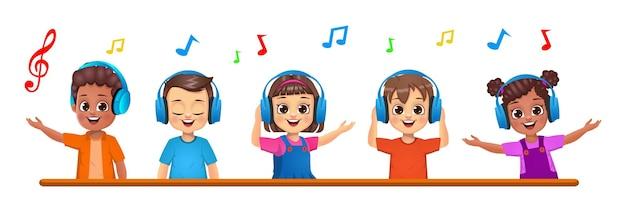 Симпатичные дети вместе слушают музыку
