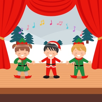 Cute children performing musical event on the stage.