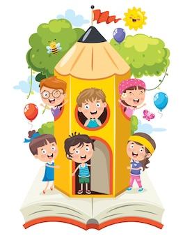 Милые дети играют в карандашном доме
