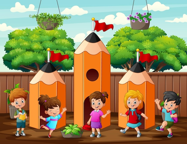 Cute children playing at pencil house illustration