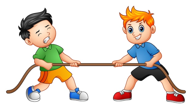 Cute children playing tug of war