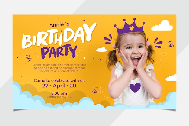Cute children's birthday card template
