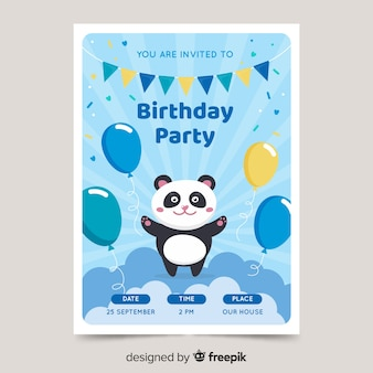 Cute children's birthday invitation template with panda