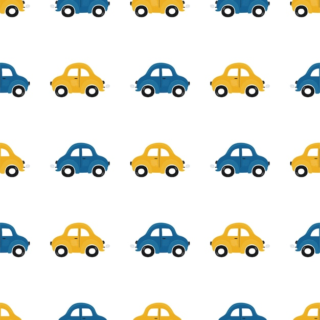 Cute children's seamless pattern with blue and yellow small cars on a light