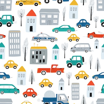 Cute children's seamless pattern with cars, road, houses. illustration of a town in a cartoon style. vector