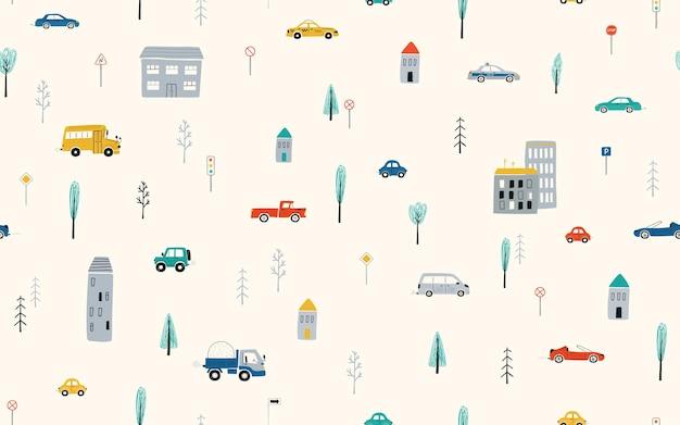 明るい背景に車、道路、家とかわいい子供たちのシームレスなパターン。壁紙、ファブリック、テキスタイルデザインの漫画スタイルの町のイラスト。ベクター