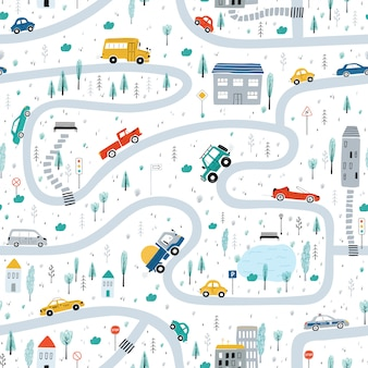 Cute children's seamless pattern with cars, road, park, houses on a white background. illustration of a town in a cartoon style