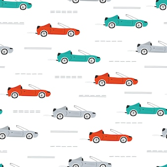 Cute children's seamless pattern with cars, road, park, houses on a white background.