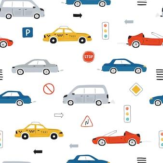 Симпатичные детские бесшовные модели с автомобилями, светофорами и дорожными знаками на белом фоне. иллюстрация шоссе в мультяшном стиле для обоев, ткани и текстильного дизайна. вектор