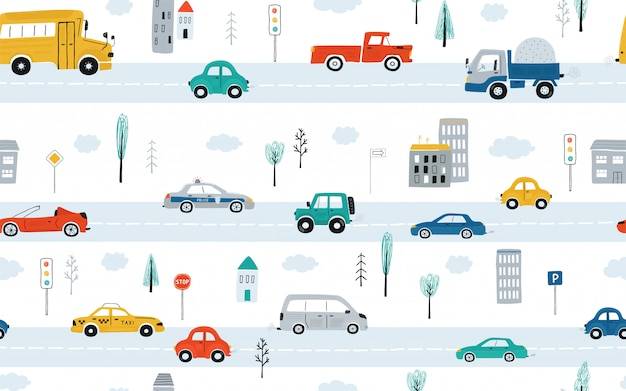 Cute children's seamless pattern with cars, traffic lights and road signs on a white background. illustration of highway in a cartoon style.
