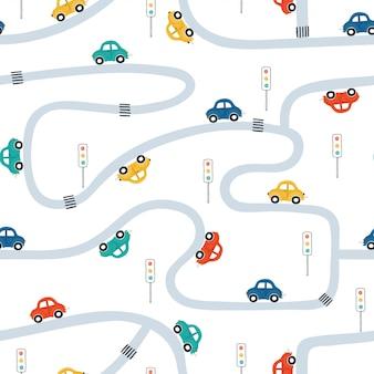 白い背景の上の軽自動車でかわいい子供たちのシームレスなパターン。漫画のスタイルの町のイラスト。