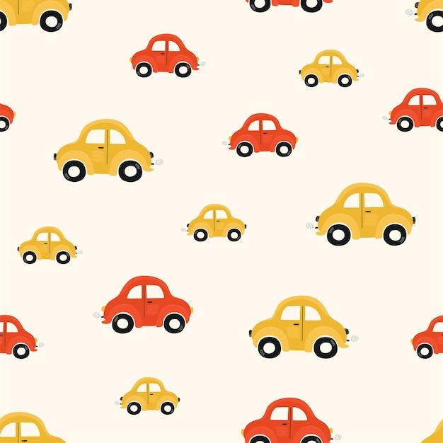 明るい背景に赤と黄色の小さな車でかわいい子供たちのシームレスなパターン。壁紙、ファブリック、テキスタイルデザインの漫画スタイルの自動車のイラスト。ベクター