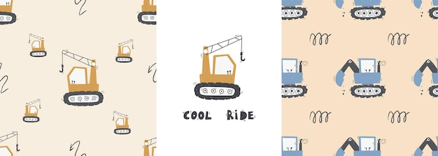Cute children's seamless pattern with trucks and diggers in scandinavian style on a white background. building equipment. funny construction transport