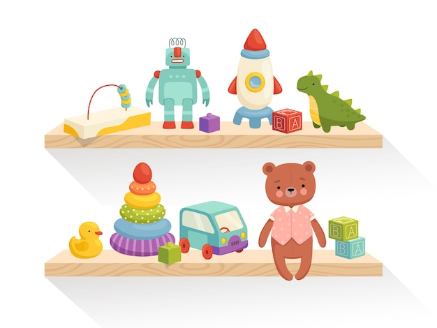 Cute children's toys are on the shelves. part of the interior of a children's room or toy store. isolated on a white background.
