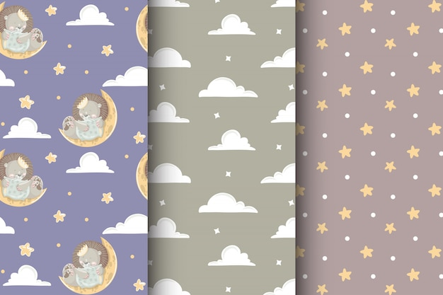 Cute children set of seamless patterns with baby lion, clouds and stars