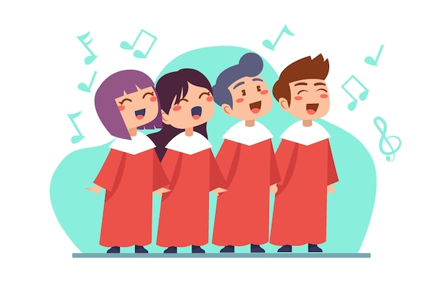 Cute children singing in a choir illustration
