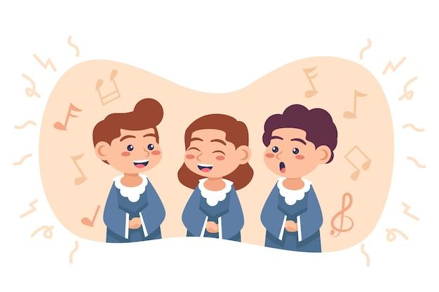 합창단에서 노래하는 귀여운 아이들
