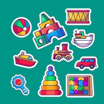 Коллекция стикеров милые детские игрушки