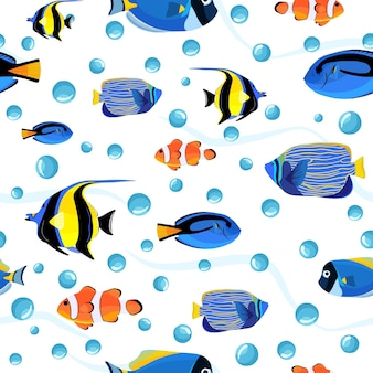 Cute children underwater background. undersea fish seamless pattern with bubbles. pattern of fish for textile fabric or book covers, wallpapers, design, graphic art, wrapping