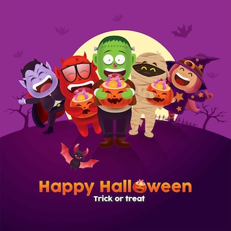 Cute children with monster and ghost costume carrying halloween pumpkin bucket of candy