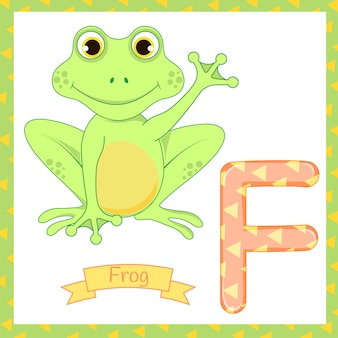 Cute children zoo alphabet f letter tracing of frog eating fly for kids learning english vocabulary