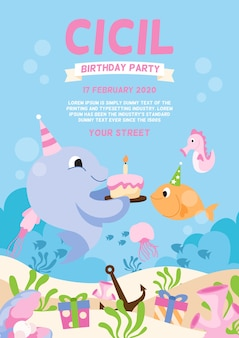Cute childrens birthday card template