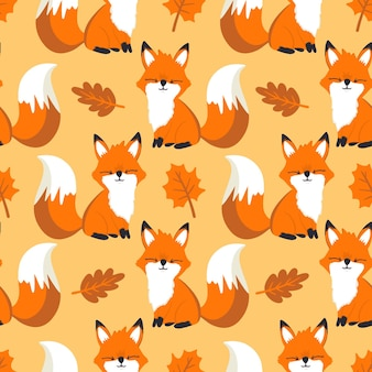 Cute childrens pattern with fox and tree foliage autumn seamless pattern with cute foxes