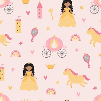 Cute childrens pattern with a princess and a unicorn
