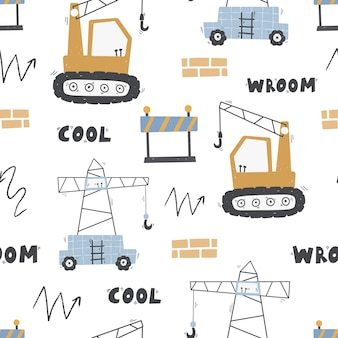 Cute childrens seamless pattern with trucks and diggers building equipment digital paper