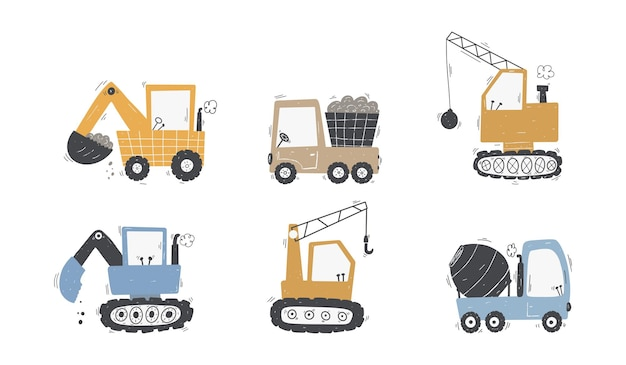 Cute childrens set trucks and diggers in scandinavian style building equipment