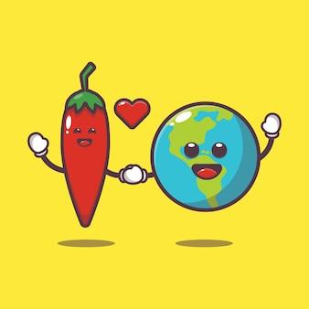 귀여운 고추와 지구 만화 그림 세계 채식의 날