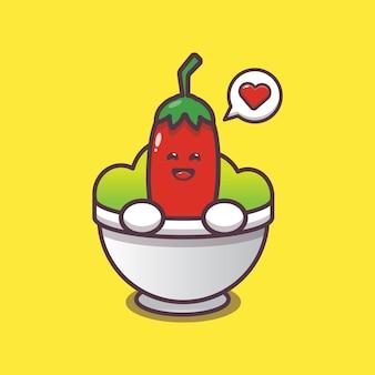 Cute chilli in bowl cartoon illustration