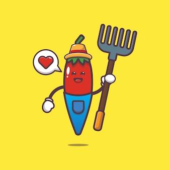 Cute chilli farmer cartoon illustration world vegetarian day vegetable cartoon vector illustration