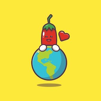 Cute chilli huging earth cartoon illustration world vegetarian day