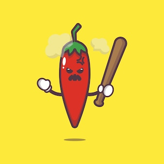 Cute chilli is angry cartoon illustration