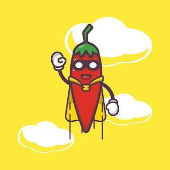 Cute chilli super hero flying cartoon illustration vegetable cartoon vector illustration