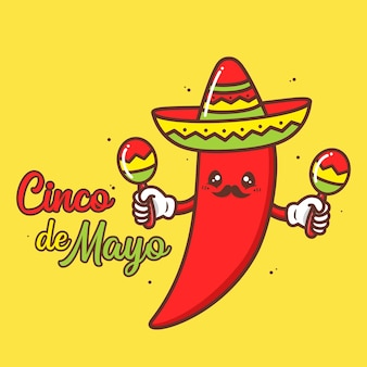 Cute chilli wearing sombrero with maracas